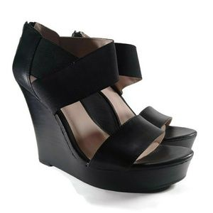 Seychelles Strappy Elastic Black Leather Wedges 9